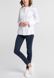 ETERNA LANGARM BLUSE SLIM FIT SATINBINDUNG WEISS UNIFARBEN