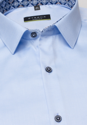ETERNA LANGARM HEMD SUPER-SLIM COVER SHIRT TWILL HELLBLAU UNIFARBEN