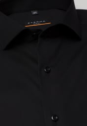 ETERNA LANGARM HEMD SLIM FIT STRETCH SCHWARZ UNIFARBEN