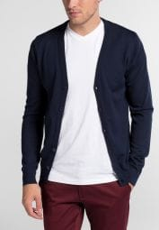 ETERNA STRICK CARDIGAN SLIM FIT MARINE BLAU UNIFARBEN