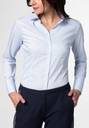 ETERNA LANGARM BLUSE SLIM FIT STRETCH HELLBLAU UNIFARBEN