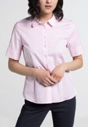 ETERNA HALBARM BLUSE MODERN CLASSIC STRETCH ROSE/WEISS GESTREIFT