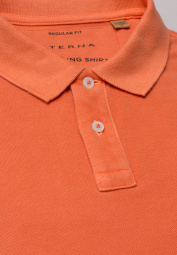 ETERNA KURZARM POLOSHIRT REGULAR FIT UPCYCLING SHIRT PIQUÉ ORANGE UNIFARBEN