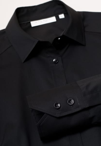 ETERNA LANGARM BLUSE SLIM FIT STRETCH SCHWARZ UNIFARBEN