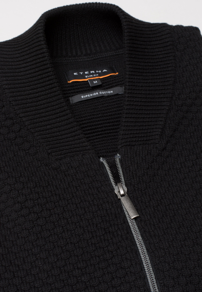 ETERNA STRICK SLIM FIT CARDIGAN SCHWARZ UNIFARBEN