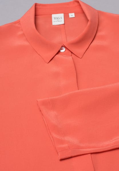 LANGARM BLUSE 1863 BY ETERNA - PREMIUM SEIDE ORANGE UNIFARBEN