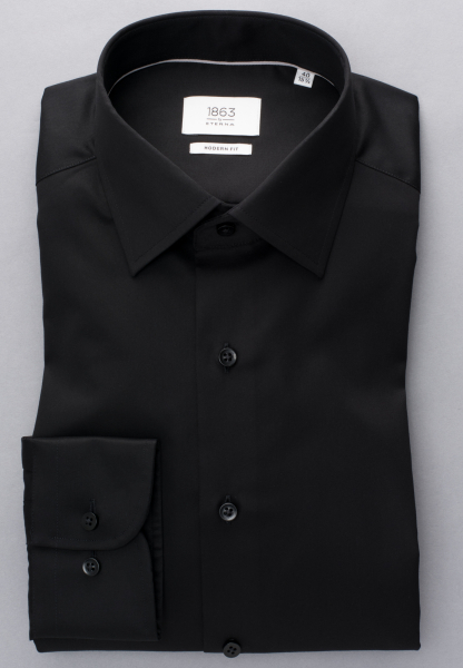 ETERNA LANGARM HEMD MODERN FIT GENTLE SHIRT TWILL SCHWARZ UNIFARBEN