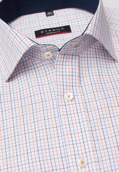 ETERNA KURZARM HEMD MODERN FIT OXFORD MARINE/ORANGE KARIERT