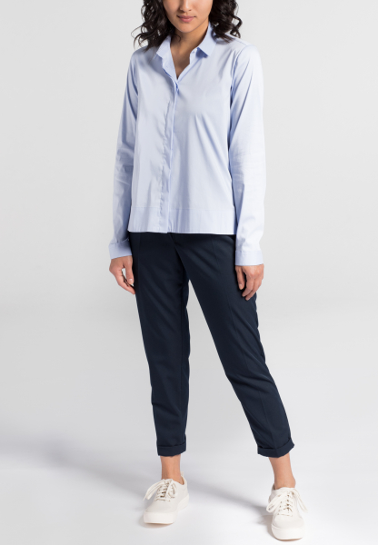 LANGARM BLUSE 1863 BY ETERNA - PREMIUM STRETCH HELLBLAU UNIFARBEN