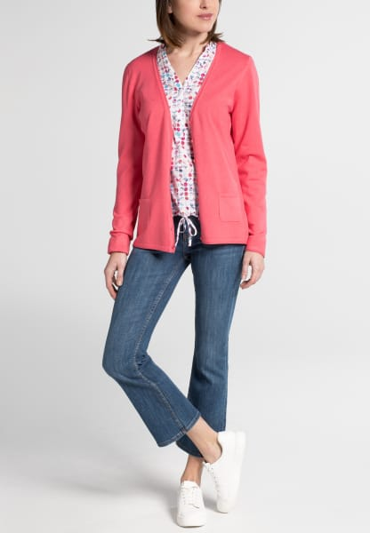 ETERNA STRICK CARDIGAN FLAMINGO UNIFARBEN