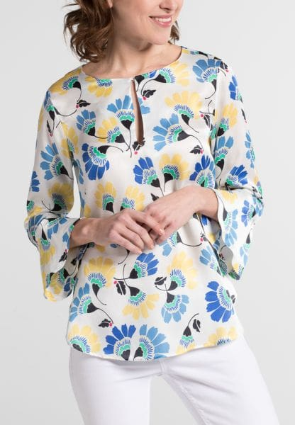 3/4 SLEEVE BLOUSE 1863 BY ETERNA - PREMIUM YELLOW / BLUE / WHITE PRINTED