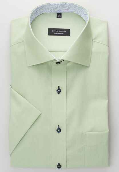 ETERNA HALF SLEEVE SHIRT COMFORT FIT CHAMBRAY GREEN UNI