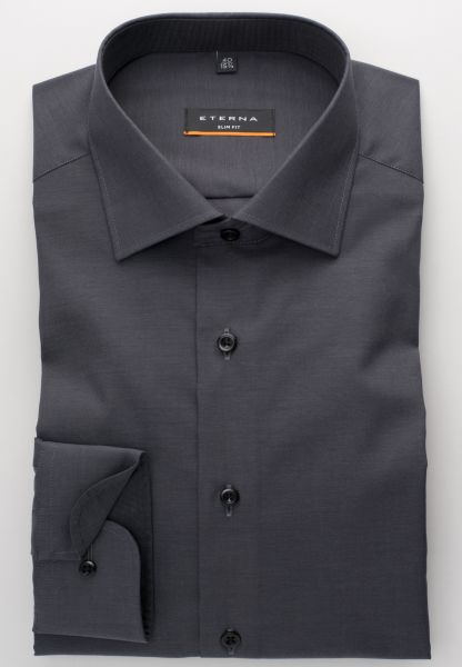 ETERNA LONG SLEEVE SHIRT SLIM FIT STRETCH GRAY BLUE UNI