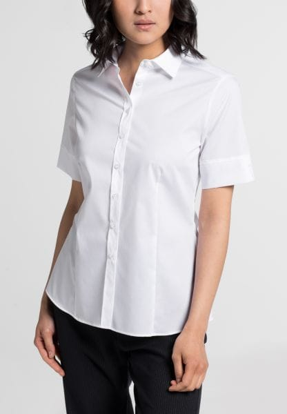 ETERNA HALF SLEEVE BLOUSE MODERN CLASSIC STRETCH WHITE UNI