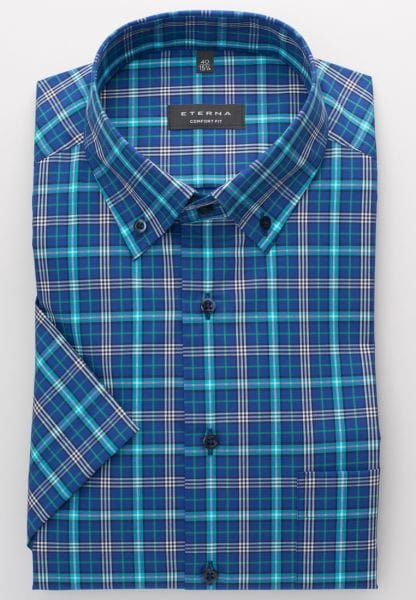 ETERNA HALF SLEEVE SHIRT COMFORT FIT POPLIN TURQUOISE / BLUE CHECKED