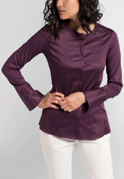 ETERNA LANGARM BLUSE SLIM FIT SATINBINDUNG ORCHIDEE UNIFARBEN