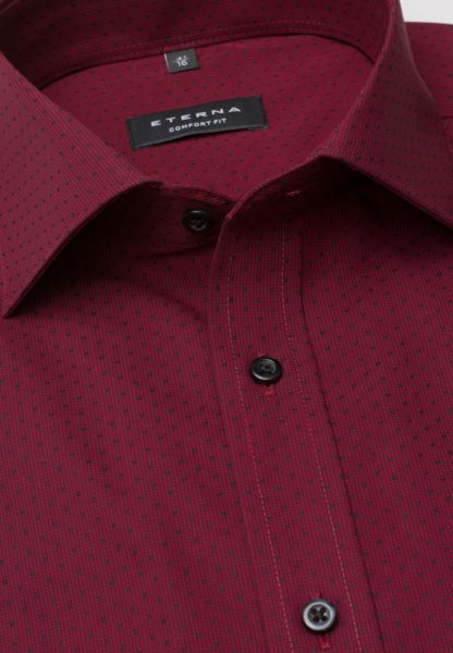 ETERNA LONG SLEEVE SHIRT COMFORT FIT TEXTURED WEAVE RED STRUCTURED