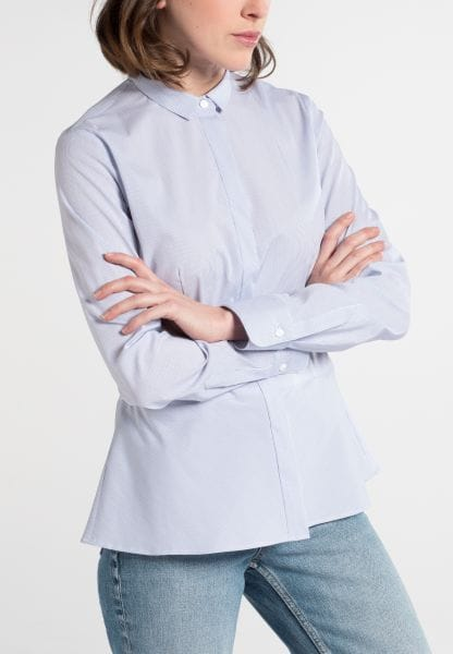 ETERNA LANGARM BLUSE SLIM FIT STRETCH BLAU/WEISS GESTREIFT