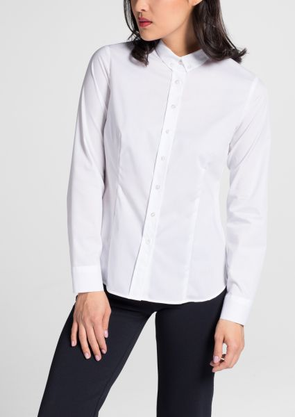 ETERNA LANGARM BLUSE SLIM FIT CHAMBRAY WEISS UNIFARBEN
