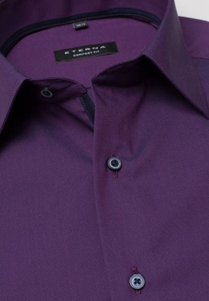 ETERNA LONG SLEEVE SHIRT COMFORT FIT FIL À FIL PURPLE UNI
