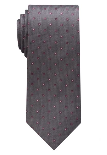 ETERNA TIE GRAY / BURGUNDY PATTERNED