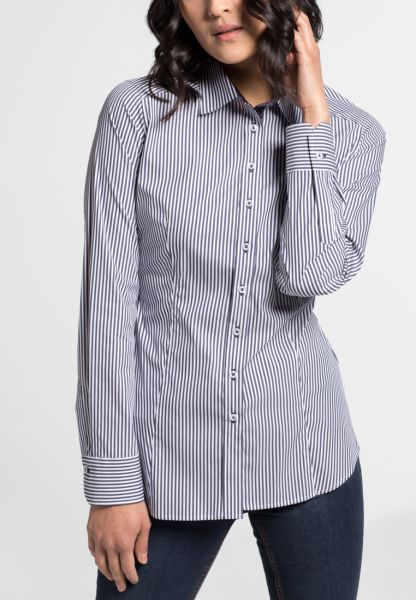 ETERNA LONG SLEEVE BLOUSE SLIM FIT DARK BLUE STRIPED