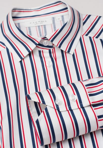 ETERNA LONG SLEEVE BLOUSE SLIM FIT BLUE / RED / WHITE STRIPED