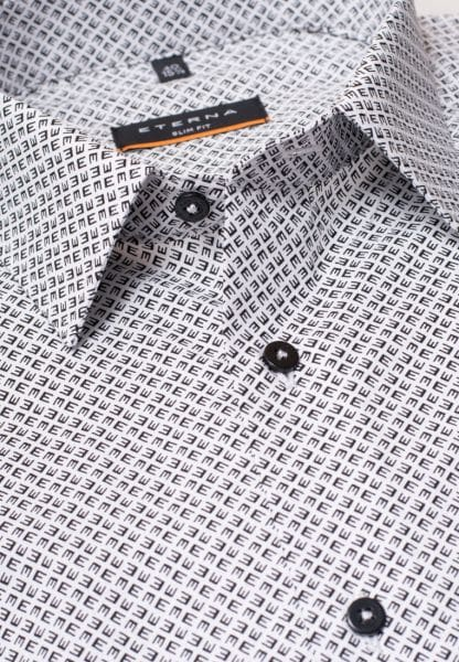 ETERNA LONG SLEEVE SHIRT SLIM FIT POPLIN BLACK/WHITE PRINTED