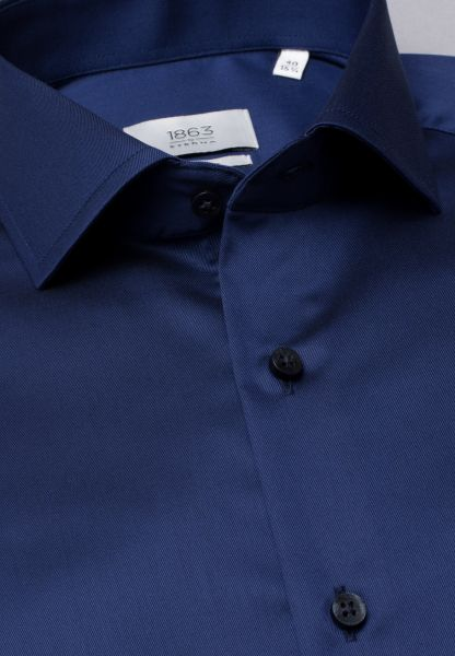 ETERNA LANGARM HEMD SLIM FIT TWILL MARINE UNIFARBEN