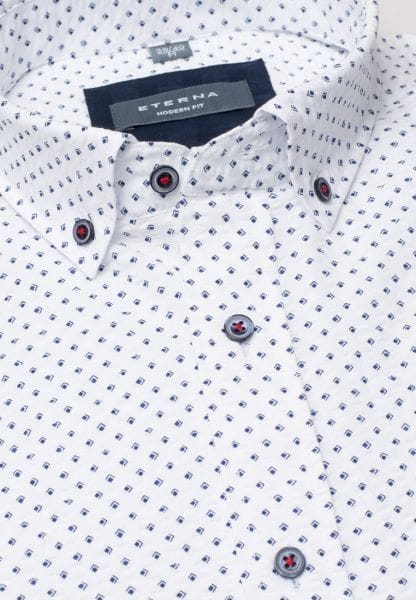 ETERNA HALF SLEEVE SHIRT MODERN FIT POPELINE BLUE/WHITE PRINTED