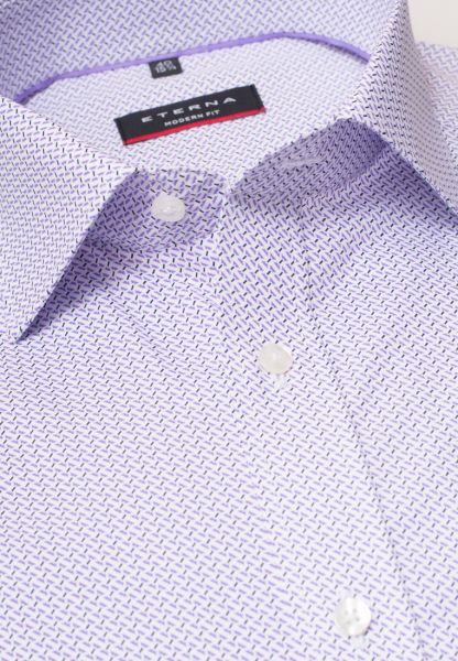 ETERNA LONG SLEEVE SHIRT MODERN FIT POPLIN LILAC / WHITE PRINTED